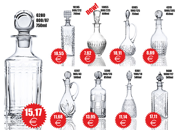 stock crystal decanters of the glass factory Neman